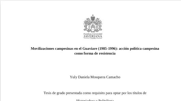 Movilizaciones campesinas en el Guaviare